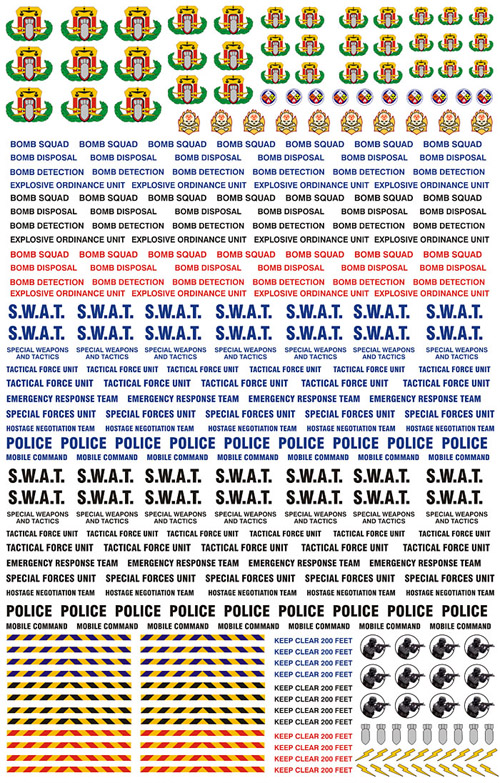 SWAT and Bomb Detection Markings